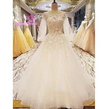 2017 Robe De Mariage Luxury Lace Crystals Appliques White Wedding Dress Half Sleeves Real Picture Custom Made Vestido De Noiva