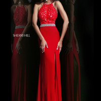 High Neckline Sherri Hill Formal Prom Dress 21210