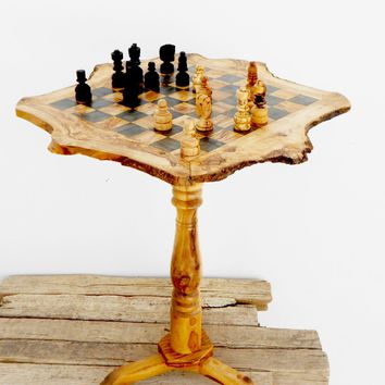Engraved Olive Wood Unique Rustic Chess Set table 18 Inch / Wooden chess board / Birthday Gift / Dad Gift / Boyfriend Gift