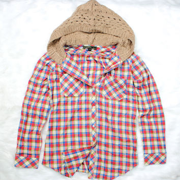 rustic hipster hooded boyfriend plaid flannel | red