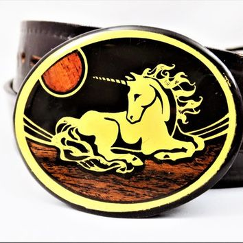 Solid Brass Unicorn Buckle, Harmony Metal Colorado, Wood Inlay, Vintage Belt Buckles