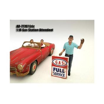 Gas Station Attendant Eric Figure For 1:18 Diecast Model Cars by American Diorama