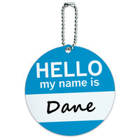 Dane Hello My Name Is Round ID Card Luggage Tag