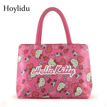 57a3b8b1cc Cute Hello Kitty Women Handbag Oxford Double Layer Large Capacit