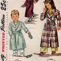 Simplicity 2544 Sewing Pattern Vintage 50s Child's Pajamas Bathrobe Robe Slippers Bunny Applique Size 4