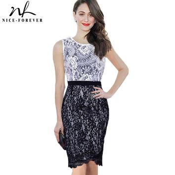 Ladylike Patchwork Summer Sleeveless Women Dress Formal Office Vintage Crochet Lace Bodycon Pencil Dresses 775