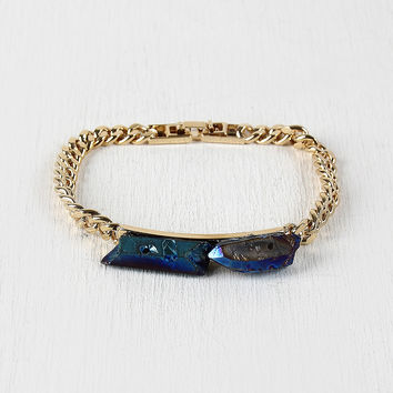 Iridescent Stone Bar Chain Braclet