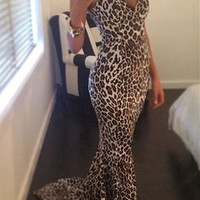 Leopard Print Strapless Maxi Dress