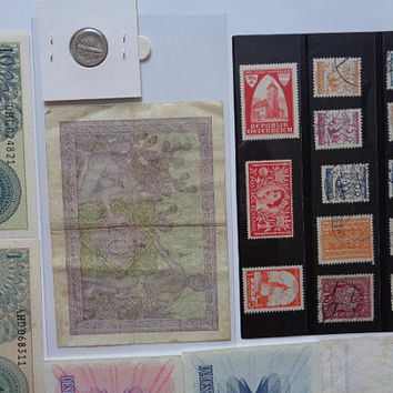 Collectors Lot of 7 World Banknotes 13 Stamps w/Stock Card and 1 Silver 1920 D US Mercury Winged Liberty Dime 10 Cents