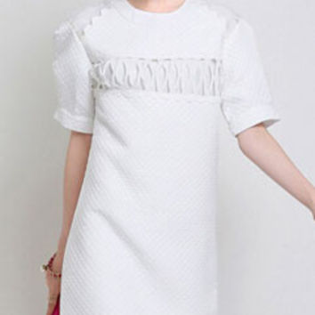 Fashion Spliced White Jacquard Checkered Print Stereo Short Sleeve Dress