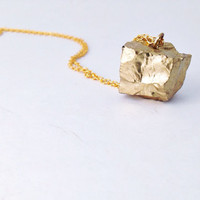 Gold Dipped Cube Quartz Layering Necklace