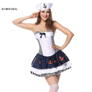 KIMRING SEXY NAVY HALLOWEEN COSTUME PROFESSION SAILOR COSPLAY NAUTICAL FANCY DRESS ADULT CARNIVAL COSTUME DRESS