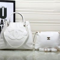 CHANEL Women Shopping Bag Leather Satchel Handbag Shoulder Bag Two piece Set G-MYJSY-BB