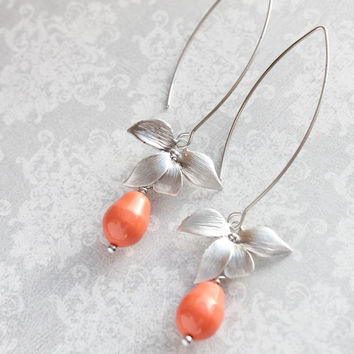 Silver Orchid Dangle Earrings Flower Coral Pearl Earrings Bridal Jewelry Bridemaids Gift Summer Fashion Orange Earrings Nickel Free