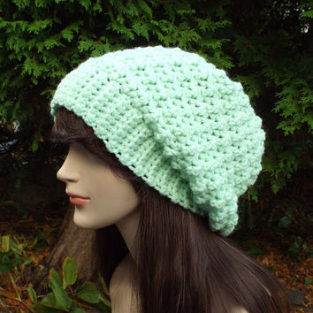 Mint Green Slouchy Crochet Hat - Womens Slouch Beanie - Oversized Slouchy Beanie - Chunky Hat - Winter Slouchy Hat