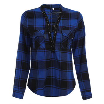 Gretta Lace Up Plaid Flannel Top