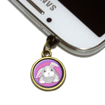 Bunny Rabbit Mobile Phone Brass Charm