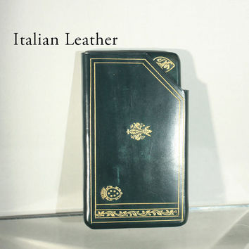 Mens Italian Leather Coat or Vest Pocket Wallet Spulcioni Firenze in Green with Gold Trim