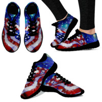 American Flag Shoes Sneakers Fireworks WOMENS - Black