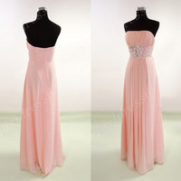 2014 Coral Crystals Strapless A-Line Long Ruffled Bridesmaid Dress,Floor Length Chiffon Evening Party Prom Dress