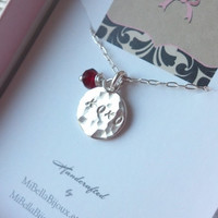 XOXO Hugs and Kisses Silver Necklace with Garnet Quartz--Gift for Best Friend, Girlfriend, Daughter, Niece, Aunt, God Daughter, Mom