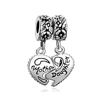 Mother Daughter Sterling Silver Heart Charm Sale Cheap Dangle Beads Fit Pandora Jewelry Bracelet