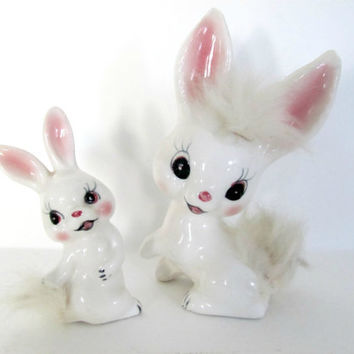 Vintage 1960's Norcrest Ceramic Bunny Figurines - Mother, Baby Rabbit Figurine - Furland - Mid Century Decor