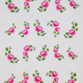 Nail art water decals Floral nail decals Water nail transfers Pink peonies with green leaves