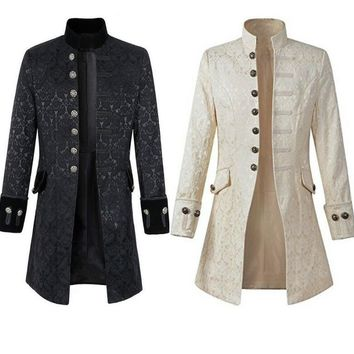 Middle Ages Prince Punk Steampunk Jacket Long Sleeve retro men's uniform Costumes Coat Steampunk Retro Halloween cosplay