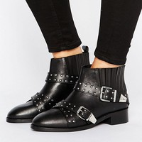 ASOS ASHES Wide Fit Studded Leather Ankle Boots at asos.com