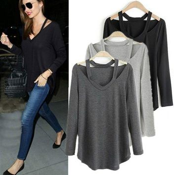 Fashion Women V Neck Top Pullover Long Sleeve T-Shirt Casual Loose Cotton Blouse