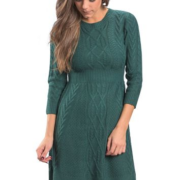 Chic Fashion Green Fitted Cable Knit Sweater Dress