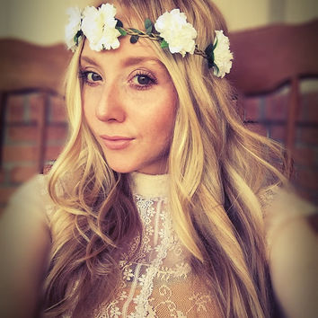Shop boho flower crown on wanelo wedding floral headbandwhite flower crowncarnationfestivalhair jewelryboho mightylinksfo