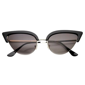 Women's Retro 1950's Half Frame Cat Eye Sunglasses 9653