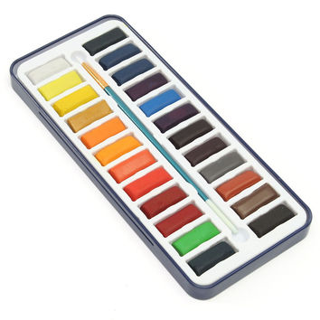 24 Colors Portable Iron Box Solid Watercolor Paints Set For Artist School Student Drawing Painting Stationery Art Supplies