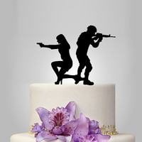 Funny wedding cake topper, soldier wedding cake topper,bride with gun cake topper, mr and mrs smith cake topper , Acrylic cake topper