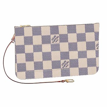 LV Fashion Wallet Women Louis Vuitton Wrist bag White Check