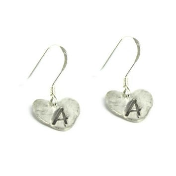 Monogram Earrings, Personalized Initial Earrings, Custom Silver Jewelry, Heart Earrings