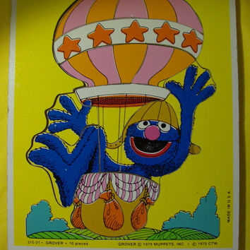 1979 Vintage Muppets Grover Wooden Puzzle Collectible Made in USA Sesame Street Collectible
