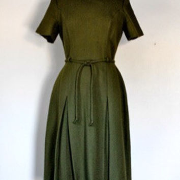 50s Wool Fit and Flare Day Dress