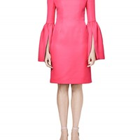 Wool Suiting Bell Sleeve Sheath Dress
