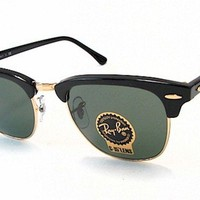 Ray Ban Clubmaster RB3016 3016 W0365 Ebony/Arista RayBan Sunglasses 49mm