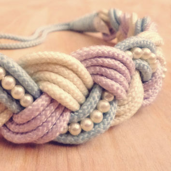 Vintage Pastel Braided Rope Belt with Pearls