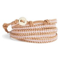 Women's Chan Luu Beaded Leather Wrap Bracelet - Peony/ Beige