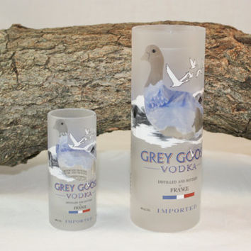 Upcycled Drinking Glass and Shot Glass, Upcycled Grey Goose Liquor Bottles, Unique Set