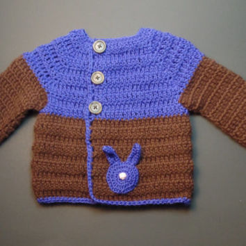 Newborn Bunny Cardigan, Blue w/ Brown - Baby Sweater Hand Crocheted Baby Shower Gift Unisex Infant sweater Bunny Sweater Blue Bunny