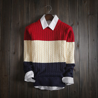 Men's Warm Round Collar Knitted Pullover Sweater