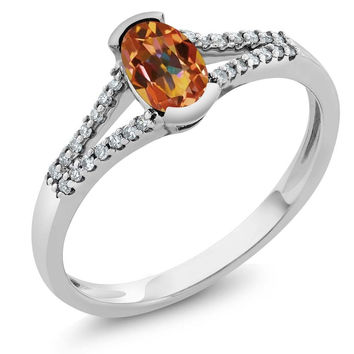 Women's Oval Ecstasy Mystic Topaz 10K White Gold Diamond Ring