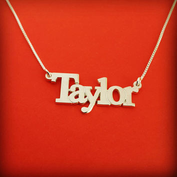 Customized Name Necklace Silver Name Necklace Taylor Necklace Name Taylor Swift Necklace Script Necklace Name Chain Valentine's Day Gift