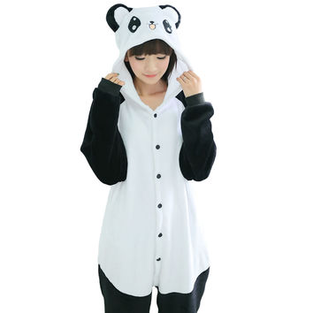 2016 Winter Flannel Panda Homewear Pajamas Soft Cartoon Costume Kigurumi Onesuits Pajamas Combinaison Family Pajamas